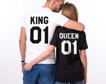 King and Queen shirts, King 01, Queen 01 Couples T-shirt Set, King Queen shirts, 100% cotton Tee, UNISEX