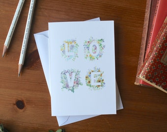 Wedding Card Floral | Anniversary Card, Floral Love Card, Bouquet Flower Card, Valentines Anniversary Card for Her