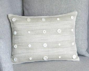 """Linen Throw Pillow - Neutral Throw Pillow - Linen Decorative Pillow - Linen Accent Pillow - Linen Cushion - Button Pillow - 12"""" x 16"""""""