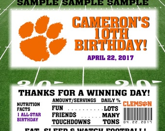 Printable Football Candy Bar Wrappers Clemson Fits 1.55 Oz Hershey Chocolate Bar Party Favors Any College Team