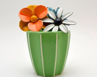 Small Ceramic Vase or Cup, Green with White Ribs, Bathroom Storage
