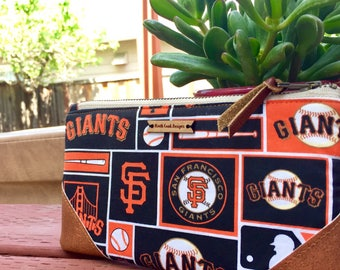 SF Giants Wristlet Bag, Clutch, Wallet, Iphone Wristlet, Wristlet Wallet, Travel Bag, Orange & Black, Small Purse, Baseball, Gift for Her
