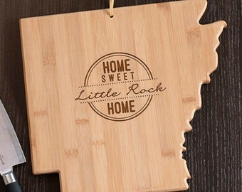 Arkansas State Shaped Cutting Board, Engraved Arkansas Shaped Cutting Board