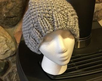 Hand-Knit Hat - Grey Seed-Stitch
