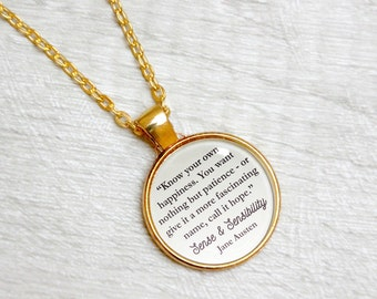 """Sense and Sensibility Quote Necklace by Jane Austen Book Jewelry """"Know your own happiness. Call it hope"""" Literary Gift with Library Card"""