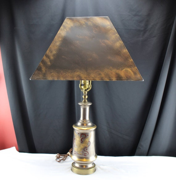 Vintage Table Lamp Metal with American Eagle Banner and Stars Inlaid Brass