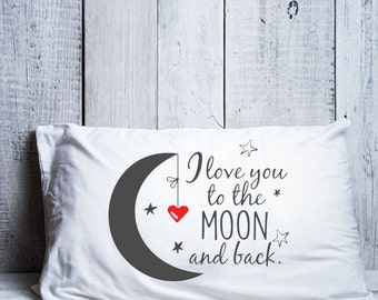 I love you to the moon and back pillow Long distance relationship Boyfriend Love Gift Friendship Friend I miss you gifts LDR pillowcase gift