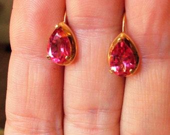SALE#Vintage solid 14K yellow gold genuine pink tourmaline teardrop shape earrings