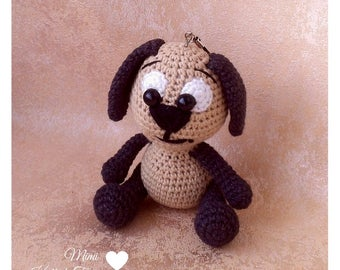 Knitted dog toy. Brown dog toy. Crochet dog toy. Puppy dog toy. Crochet doll. Soft doll. Soft toy. Amigurumi dog