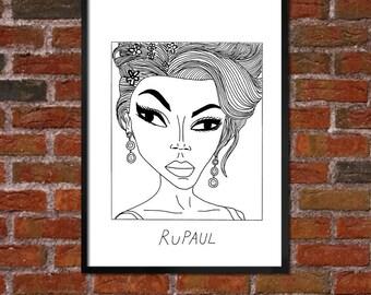 Badly Drawn RuPaul Poster / print / artwork - FREE Worldwide Shipping