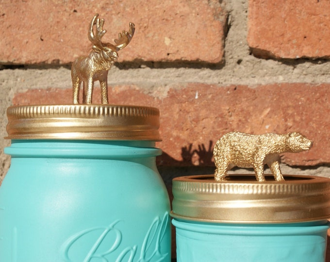 Turquoise Mason Jar with Golden Lid Animal // Hand Painted // Home Decor // Kid's Gift // Interesting Gifts // Unique Gifts // Mother's Day