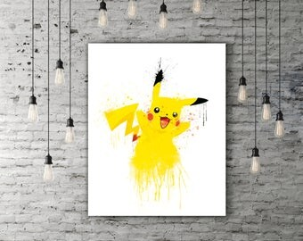 Pikachu Birthday Decor, Pokemon Go Game Art, Black And Yellow Nursery Decor, Pokemon Art Print, Kids Wall Art, Watercolor Paint, Cute Art