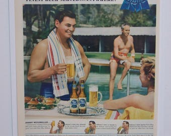 Original 1950 Pabst Blue Ribbon Magazine Ad with Johnny Weissmuller