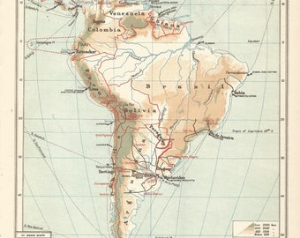 1906 map of central and south  america (political). antique map vintage wall decor