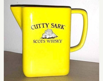 Vintage Cutty Sark Scots Whisky Pitcher,Yellow Cutty Sark Pitcher,Cutty Sark,Yellow Ceramic Whisky Decanter,Guernavaca,Mexico,Scots Whisky