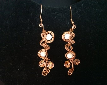 Woven swirl copper earrings