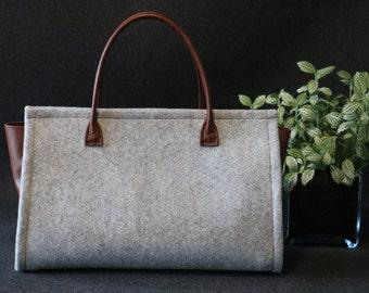Felt handbag, leather handbag, handbag, Brown leather bag, leather bag, handmade leather bag , handbag,
