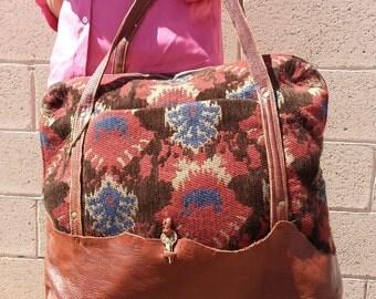Scottish Leather Tapestry Portfolio Travel Bag         FREE SHIPPING
