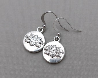 Lotus Earrings, Lotus Jewelry, Petite Jewelry, Yoga Flower Earrings, Silver Lotus Flower Earrings, Yoga Jewelry