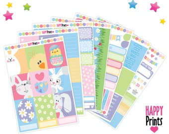 Easter Full Weekly kit Planner Stickers, perfect for Erin Condren Planner and other planners.