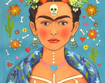 "Signed A4 Limited Edition Giclee Print ""Frida's Heart"" for lovers of Frida Kahlo and the Mexican Day Of The Dead! By Laura Robertson"