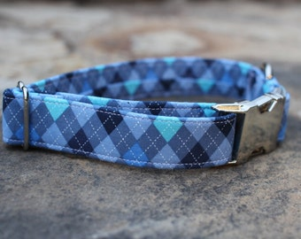 Blue Argyle Collar | Dog Collar | Male Dog Collar | Summer Dog Collar | Pet Collar | Large Dog Collar | Small Dog Collar | Fabric Dog Collar