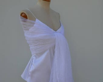 Clearance 30% in tulle, tulle white shawl stole