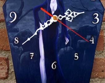 Wooden wall coffin-clock - Elvira. Handmade wall clock. Coffin shaped. Gothic decoration. Horror film clock