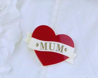 Much Loved Mum Brooch (Red)