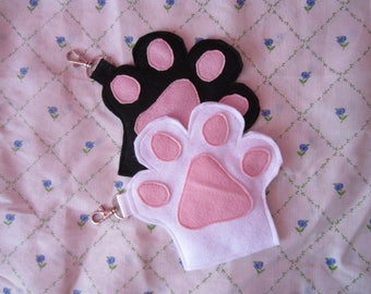 Kawaii Felt Cat Paw Coin Makeup Purse, Pouch, Girlfriend, Mother, Gift Idea, Kitty, Cat Lover
