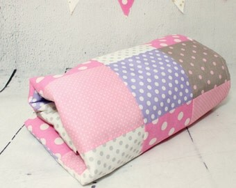 Baby Quilts Handmade,Patchwork, Baby Blanket, Pink, Gray, Purple, Quilt Crib Bedding, Modern Quilt & Bunting Flags, Handmade baby blanket