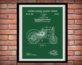 Patent 1931 John Deere Tractor - Art Print or Poster - Wall Art - Agriculture Art - Farming - Farm Equipment Patent