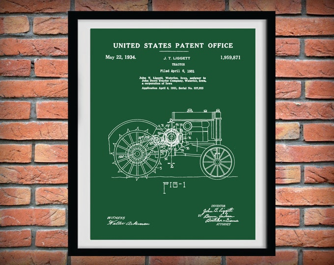 Featured listing image: Patent 1931 John Deere Tractor - Art Print or Poster - Wall Art - Agriculture Art - Farming - Farm Equipment Patent