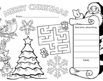 Christmas Coloring Activity Sheet Placemat INSTANT DIGITAL DOWNLOAD In Jpeg Pdf