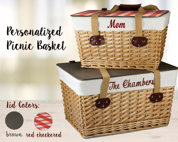 Wedding gift basket etsy : Personalized wedding gift picnic basket with embroidered