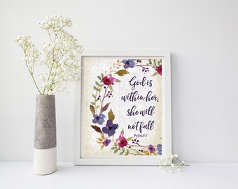 Nursery Decor Print, Bible Verse God Is Within Her She Will Not Fall Floral Wall Art Home Decor Bible Verse Print Scripture Art Nursery Art