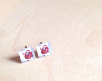 CLEARANCE SALE! SLIGHT defect hypoallergenic, football, superbowl, square glass post earring