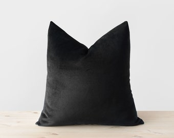 Black Velvet Pillow Cover Solid Black Throw Pillows Black Lumbar Cushion Modern Minimalist Neutral Monochrome Black Decor 18x18 20x20 22x22