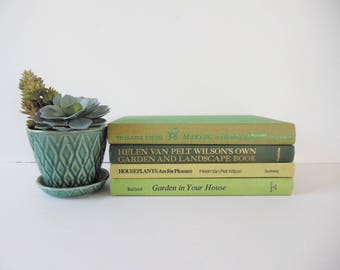 Vintage Green gardening books Vintage gardening books Vintage Nature Books Mid Century green Book Collection Mid Century gardening Books