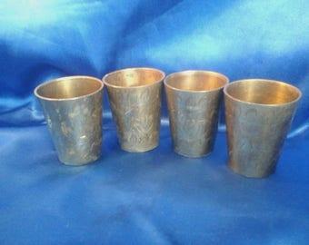 Set of 4 Vintage Brass Indian Shot Cups .