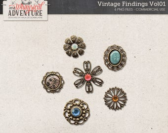 Vintage Gems, Boho Charms, Trinkets, Digital Download, Jewelry, Commercial Use OK, Digital Scrapbooking Embellishments, Bronze, Blue, Red
