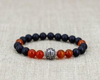 Stack bracelet Mens gift-for-her Carnelian bracelet Black onyx bracelet Virgo bracelet Virgo jewelry Zodiac bracelet Zodiac signs jewelry