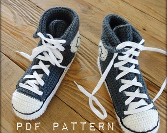 PATTERN PDF #001---  Cool crochet slippers instant download