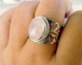 Rose Quartz ring -  Sterling Silver Pink Quartz Jewelry - Love Ring Heart Chakra Jewelry - Womens Gift