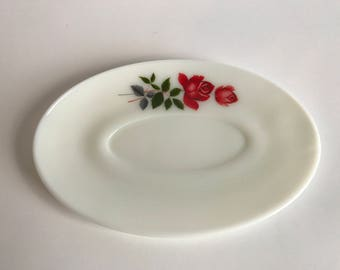 JAJ Pyrex June Rose Gravy Boat Saucer Plate