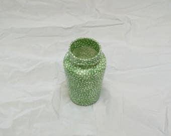 Green Dots Decoupage Jar