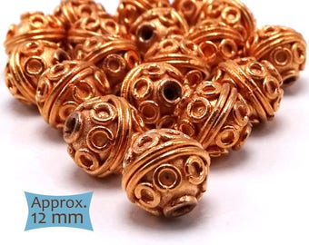 Bali Rope and Coil Large Copper Beads—5 Pcs | 27-CM215-5