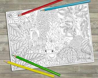 Printable Tropical Forest Colouring Page, Downloadable Gift, Adult Coloring, Activity, Jungle, Coloring Poster, Grown-ups, Enchanted Forest