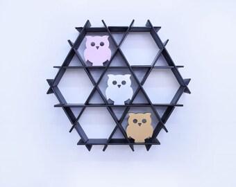 Owl Decor, Shelf Sitter, Wood Owl, Shelf Decor, Wooden bird, Nursery Owl, Silver Owl, Owl Home Decor, Office Decor, Woodland Decor