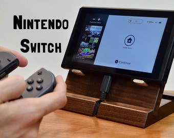 Nintendo Switch Dock - Adjustable Angle 45 or 30 degree - Handmade - Cherry or Walnut Wood Docking Station Stand